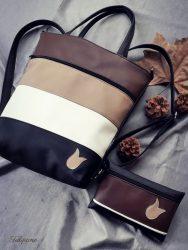 csokis cappucino táska + tárca + kártyatartó szett