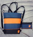 Kék és narancs táska+tárca szett