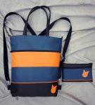 Kék és narancs táska + pénztárca  szett